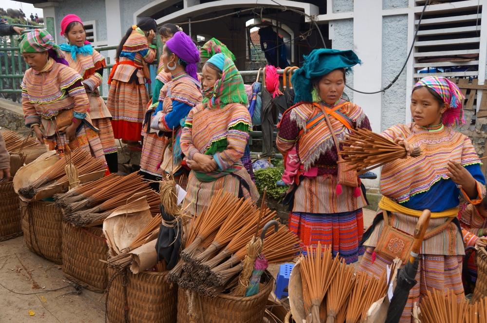 Vendedoras locales en el mercado de Bac Ha.