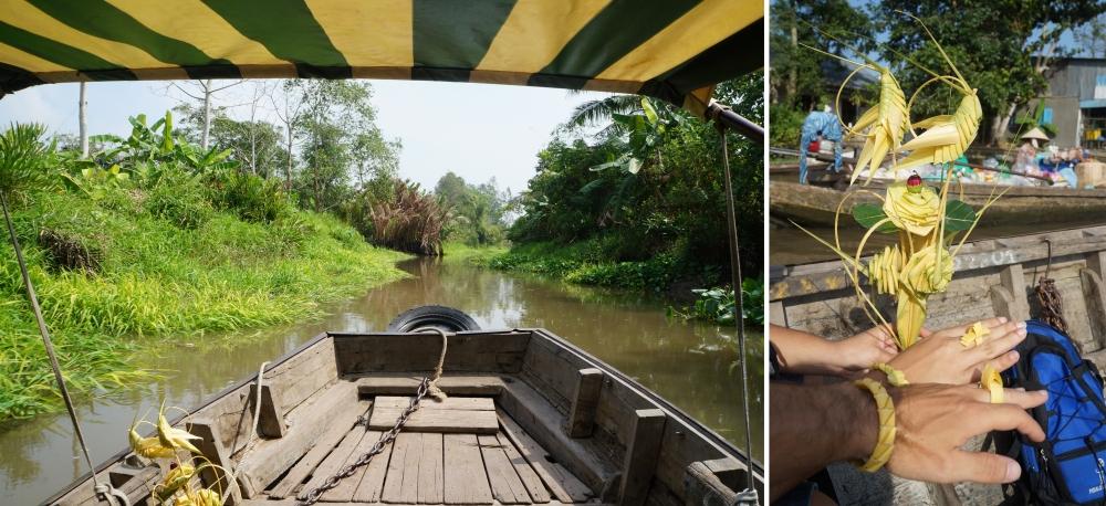 Recorrido en barca por los manglares. Regalos de nuestra simpática barquera.