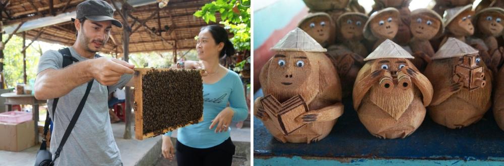 Visita a la fábrica de miel. Algunos de los productos que se hacen en las islas (figuras de coco).