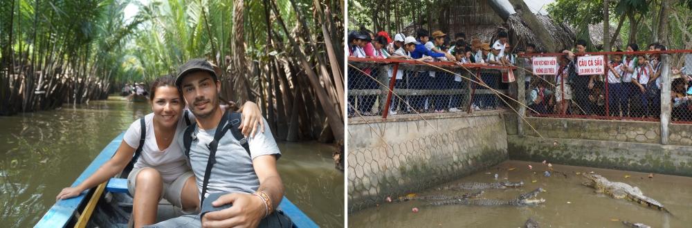Paseo en barca por las islas. Grupo de niños dando de comer a los cocodrilos.