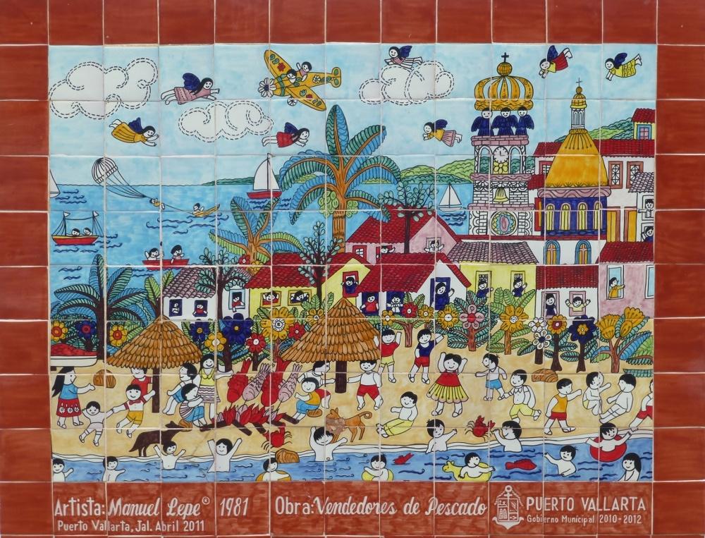 Reproducción cómica de la ciudad con cerámica de color.
