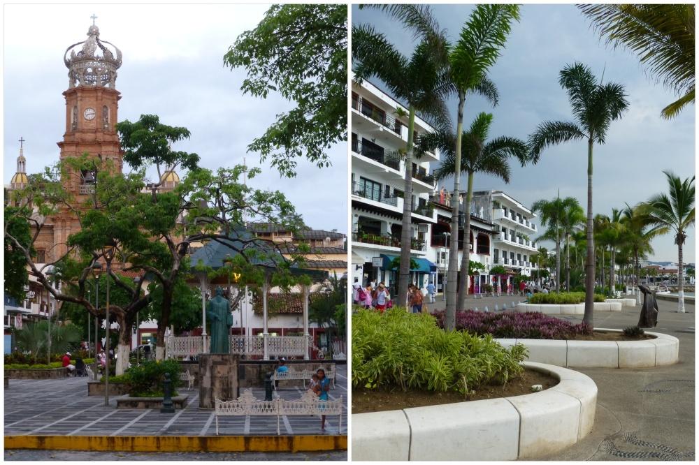 Plaza principal presidida por la torre de la iglesia y el paseo marítimo (malecón).