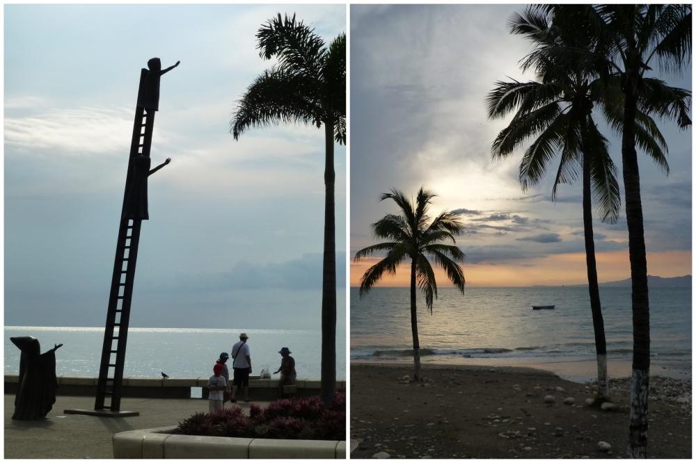 El malecón: curiosa escultura y puesta de sol.