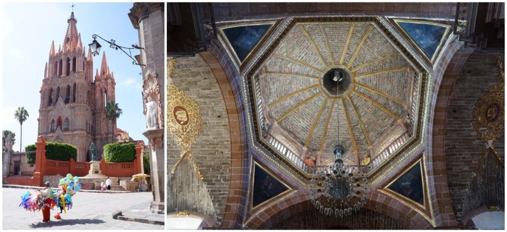 Fachada y cúpula interior de la parroquia.