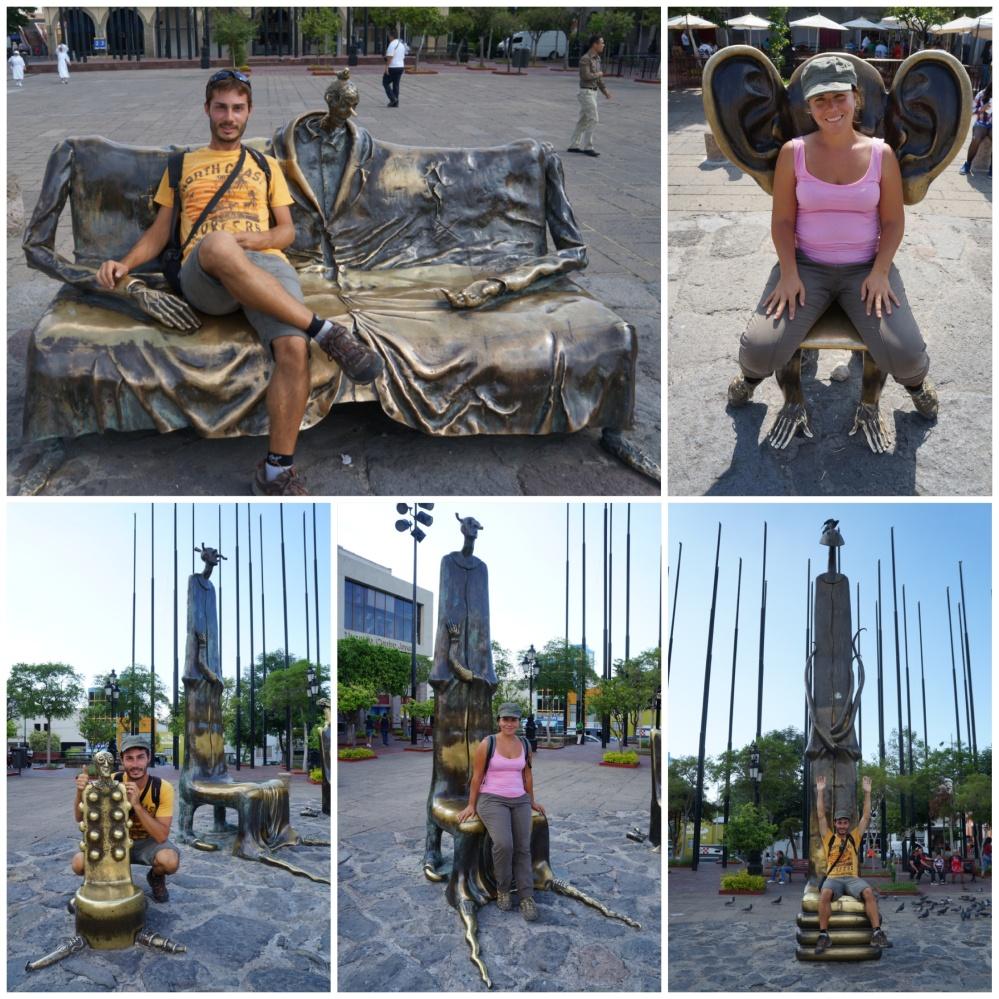 Esculturas cerca de la plaza Tapatía y el mercado de artesanía San Juan de Dios.