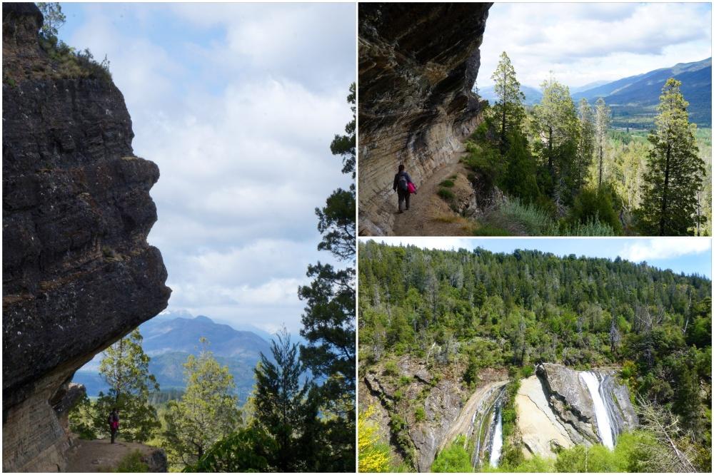 La cabeza del Indio, acantilado del Valle del Azul y Cascada Escondida.