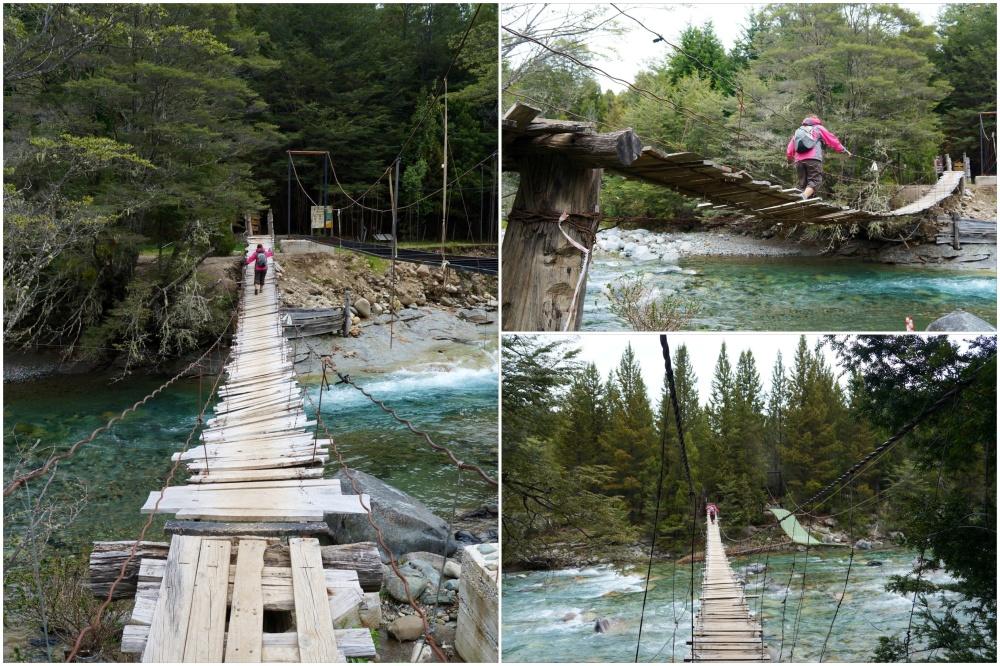 Pasarelas de acceso al sendero cercano al río.