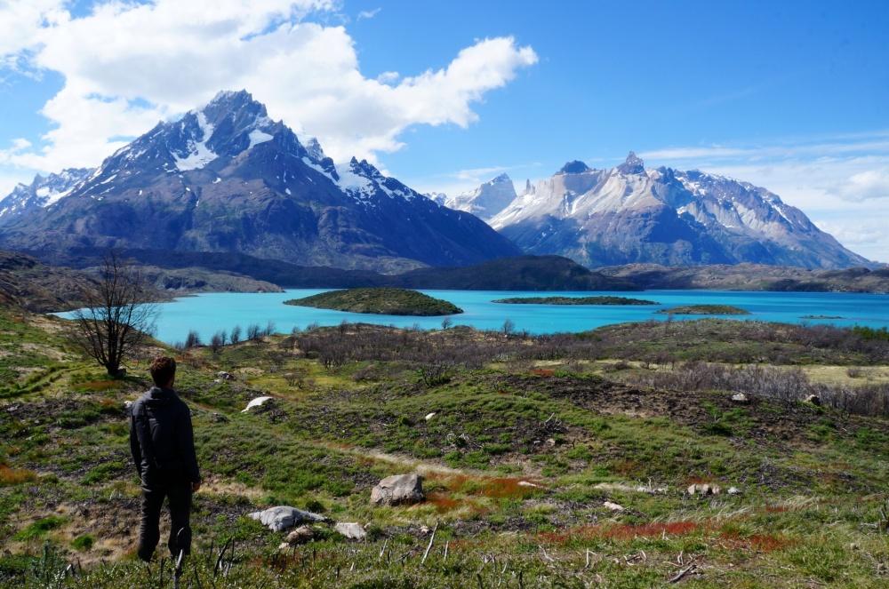 Contemplando la totalidad del Lago Pehoé.