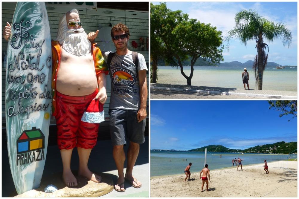 Izquierda: Papa Noel de una tienda. Derecha: Lagoa de Conceiçao y partido de futvoley.